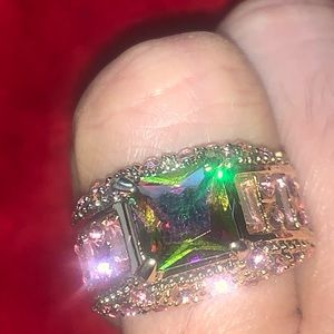 Mystic topaz and pink CZ super gold plated ring 8